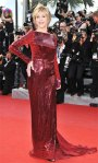 Jane Fonda in a red & burgundy sequined Roberto Cavalli gown with Chopard diamonds