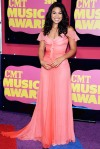 Jordin Sparks in a coral Kevin Hall gown