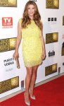 Kate Walsh in a yellow Jenny Packham mini dress