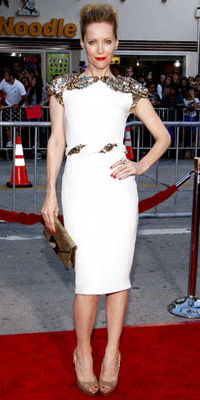 c27e4544 Leslie Mann in a sequin-accented Marchesa little white dress with a ...