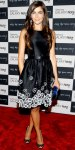 Camilla Belle in a black & white floral dress by Jason Wu with jewelry by David Yurman, a marbled JImmy Choo clutch, & peep toe pumps.