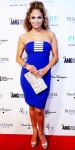 Jennifer Lopez in a royal blue Edition by George Chakra dress wuth a python clutch & peep toe pumps.