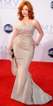 Christina Hendricks in a silver belted Christian Siriano gown.