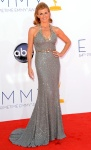 Connie Britton in a silver blue Andrew Gn halter gown with Neil Lane diamonds.