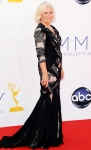 Glenn Close in a crisscrossed panels gown in black lace.