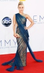 Hayden Panettiere in a Grecian blue & gold embroidered goddess gown.