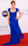 Jane Levy in a royal blue classic gown with a jewelry choker.