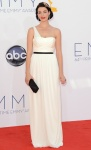 Jessica Pare in a white Grecian goddess gown & diamond earrings.