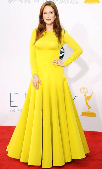Julianne Moore in a neon Christian Dior Couture dress with Fred Leighton diamonds.
