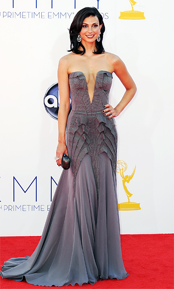 Morena Baccarin in a pewter Basil Soda gown with a Kotur clutch & David Webb earrings.