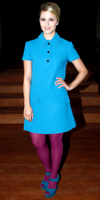 2b3931c5ee13 Dianna Agron in a Miu Miu turquoise retro shift dress with plum ...