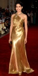 Freida Pinto in a gold Ralph Lauren Collection gown with an enamel Salvatore Ferragamo minaudiere