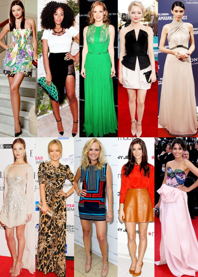 Miranda Kerr, Solange Knowles, Jessica Chastain, Emma Stone, Rooney Mara, Rosie Huntington-Whiteley, Olivia Wilde, Malin Akerman, Ashley Greene, & Freida Pinto.