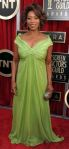 Alfre Woodard in a green plunging gown by Kevan Hall