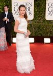 Alicia Vikander in a feathery white gown by Chanel