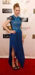 Amanda Seyfried in a blue lace-detailed bodice Marios Schwab dress with a pleated skirt.