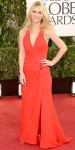 Claire Danes in a red Versace ruched gown.