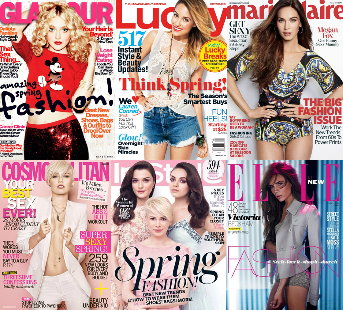 Dakota Fanning for Glamour, Lauren Conrad for Lucky, Megan Fox for Marie Claire UK, Miley Cyrus for Cosmopolitan, Michelle Williams, Rachel Weisz, & Mila Kunis for InStyle, & Victoria Beckham for ELLE UK.