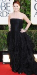 Debra Messing in a black ruched-detailed Donna Karan gown with Amrapali bangles & drop earrings by Samira 13.