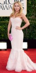 Hayden Panettiere in a strapless blush Roberto Cavalli mermarid gown with a fuchsia box clutch.