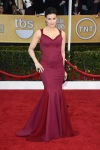 Indina Menzel in a berry mermaid cut gown with a Swarovski clutch