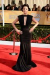 Jaimie Alexander in a black ruched Marc Bouwer gown
