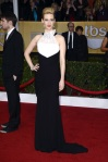 January Jones in a black & white colorblocked Prabal Gurung gown