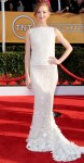 Jayma Mays in a shimmering white George Hobeika Atelier gown with Neil Lane diamonds & Jimmy Choo shoes.