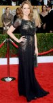 Jenna Fisher in a black & silver accented Jenny Packham gown