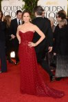 Jennifer Garner in a deep red sweetheart belted gown by Vivienne Westwood