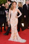 Jennifer Lopez in a floral-embellished long-sleeved Zuhair Murad deep-v gown