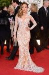 Jennifer Lopez in a floral-embellished long-sleeved Zuhair Murad deep-v gown