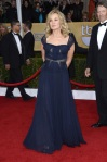 Jessica Lange in a navy ruched bodice gown