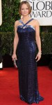 Jodie Foster in a navy sequined halter gown by Giorgio Armani.