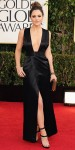Katharine McPhee in a black plunging Theyskens' Theory gown with strappy heels