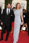 Kathryn Bigelow in a blue embellished aplomb gown by Prada
