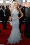 Katrina Bowden in a gray blue Badgley Mischka gown