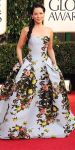 Lucy Liu in a strapless floral printed Carolina Herrera gown
