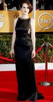 Michelle Dockery in a black vintage Chado Ralph Pucci gown with a Mulberry clutch.