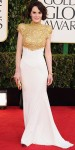 Michelle Dockery in an intricate gold bodice & white gown by Alexandre Vauthier