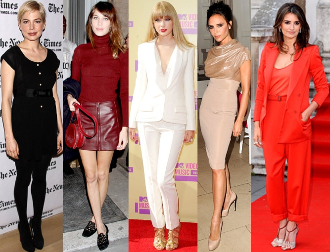 Michelle Williams, Alexa Chung, Taylor Swift, Victoria Beckham, & Penelope Cruz.