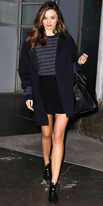 Miranda Kerr In A Relaxed Coat With A Striped Sweater Black