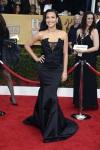 Naya Rivera in a black corset gown by Donna Karan