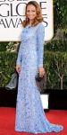 Nicole Richie in a lavender long-sleeved applique dress by Naeem Khan with an embellished box clutch.