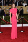 Nina Dobrev in a hot pink cut-out short-sleeved gown by Elie Saab
