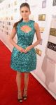 Nina Dobrev in a teal sequined Monique Lhuillier dress with ankle strap peep toe heels.
