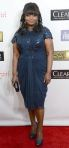 Octavia Spencer in a navy knee-length Tadashi Shoji dress.