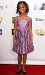 Quvenzhane Wallis in a metallic floral custom-made David Meister dress.