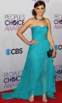 Rachael Leigh Cook in a turquoise sweetheart Oliver Tolentino gown.