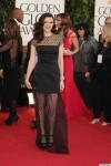 Rachel Weisz in a black polka dot sheer belted sheer gown by Louis Vuitton